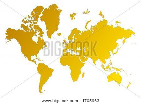 Detailed orange gradient map of the world on white background. poster