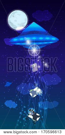 Ufo Abduction Of A Herd  Cows. Illustration