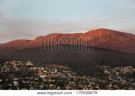 Morning view of Hobart with mt. Wellington in the background