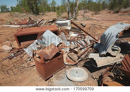 Pile of debris of metal scrap