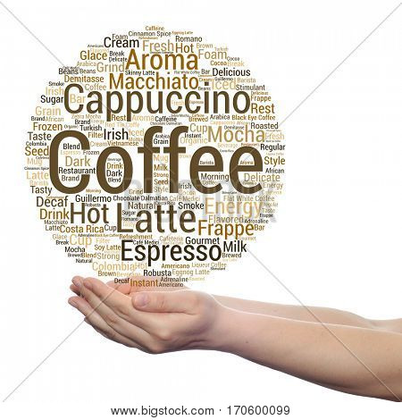 Concept conceptual creative hot coffee, cappuccino or espresso abstract word cloud in hand isolated on background metaphor to morning, restaurant, italian, beverage, cafeteria, break, energy or taste