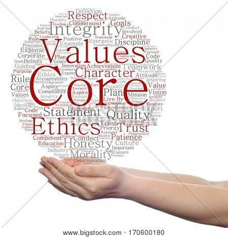 Conceptual core values integrity ethics circle concept word cloud in hands isolated on background metaphor to honesty quality, trust, statement, character, important, perseverance, respect trustworthy