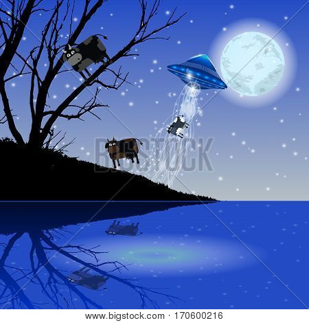 Abduction Ufo Flying Cow. Illustration