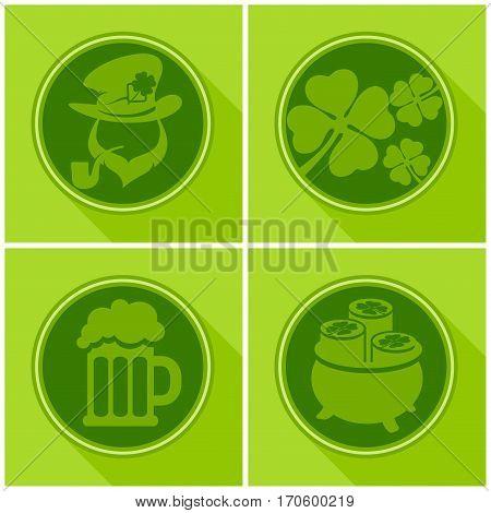 St. Patrick`s Day Symbols On Green