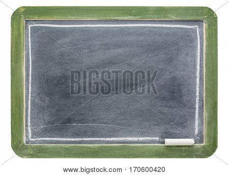 blank slate blackboard in rustic green wood frame with white chalk isolated with a clipping path