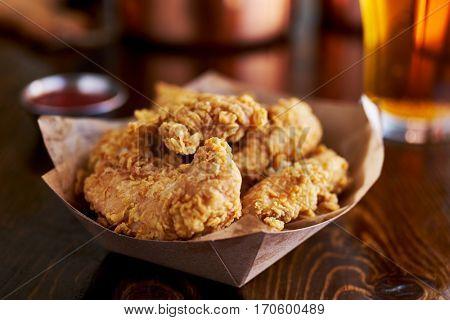 basket of tasty fried chicken tenders