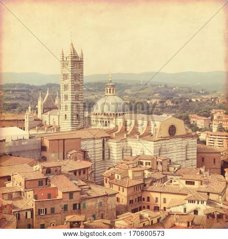 View of Siena in Tuscany. Old style photo.