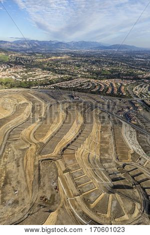 Aerial view of new neighborhood construction in the Porter Ranch area of Los Angeles, California.