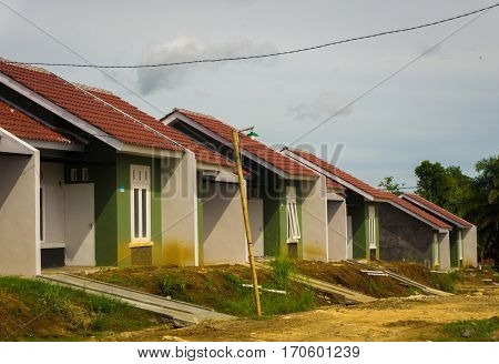 Houses in Real estate building project and the road is not ready yet photo taken in dramaga bogor indonesia java