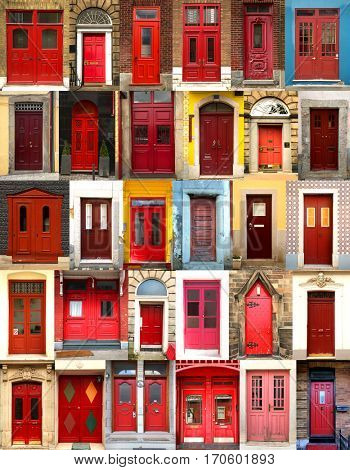Collage of red doors from everywhere in the world