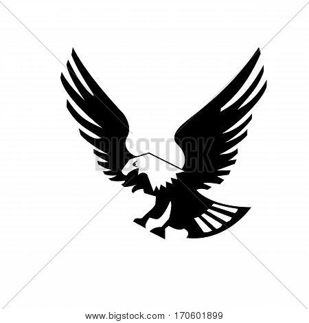 Eagle bird isolated on white backgroundicon. heraldic emblem of powerful wild falcon with stretching clutches. Symbol of eagle hawk predator for sport team mascot shield, company badge, guard service, hunting club label