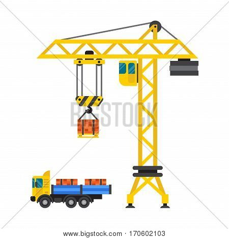 Crane urban house architecture and exterior house built. Lifts concrete slab construction vector. Engineering business equipment tall industrial technology.