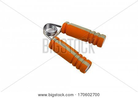 isolated orange spring grip on white background
