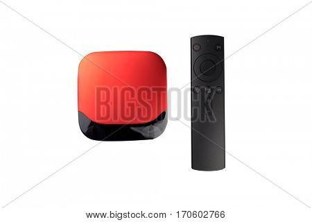isolated smart tv box and remote control on white