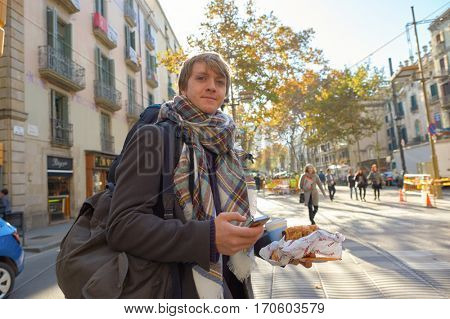 BARCELONA, SPAIN - NOVEMBER 20, 2015: outdoor portrait of a man in Barcelona. Barcelona is the capital city of the autonomous community of Catalonia in the Kingdom of Spain.