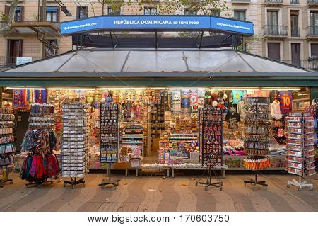 BARCELONA, SPAIN - NOVEMBER 20, 2015: tourist gift shop kiosk in Barcelona. Barcelona is the capital city of the autonomous community of Catalonia in the Kingdom of Spain.