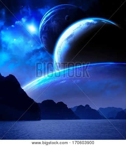 Landscape in fantasy planet. Sea, mountains, planets and nebula. Elements of this image furnished by NASA. 3d render