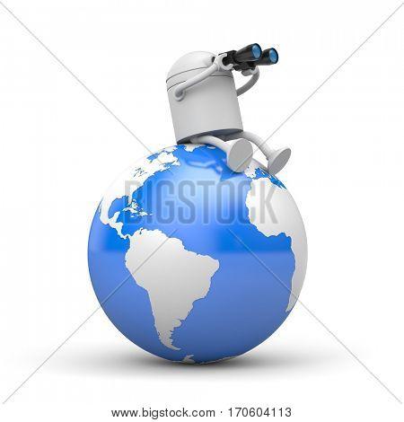 The robot looks to the future through binoculars. 3d illustration