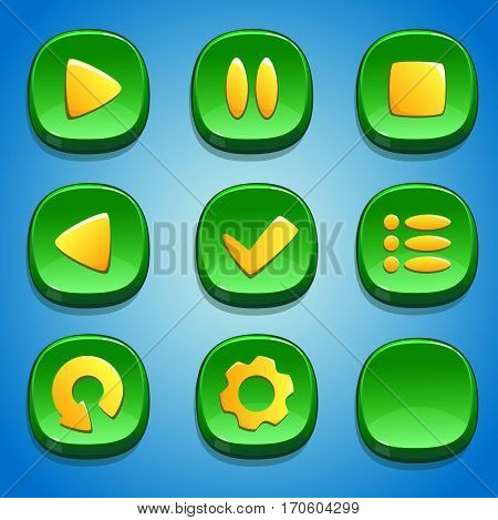 Green buttons set for GUI. UI elements.