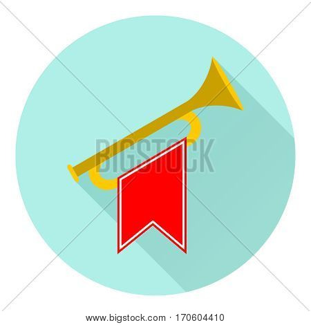 Horn, icon trumpet, icon Horn. Flat design, vector illustration, vector.
