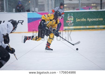 Moscow, Russia - January, 15, 2017: Amateur hockey league LHL-77. Game between hockey team