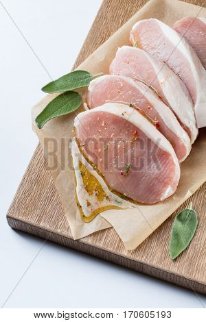raw pork escalope with sause made of honey and herbs