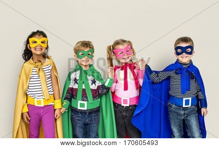 Superhero Kids Friendship Smiling Happiness Playful Togetherness