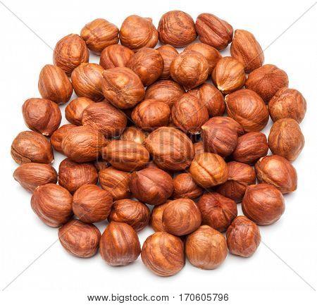 Hazelnuts isolated on the white background.