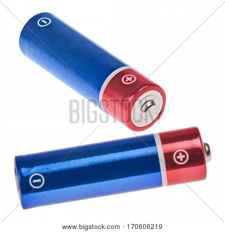 red and blue batteries isolated on white background