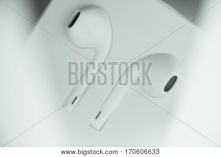VALENCIA, SPAIN - FEBRUARY 4: Close up macro view from Apple EarPods with Lightning connection for iphone 7 and 7 plus on February 4, 2017 in Valencia, Spain