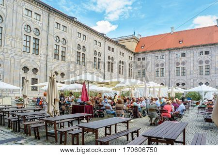 Munich, Germany - August 6, 2016: Street cafe at Munich Residence