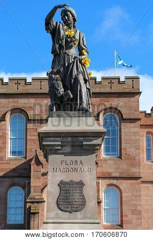 Bronze statue of Flora MacDonald, a Jacobite heroine who aided Bonnie Prince Charles, in Inverness, Scotland.