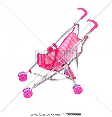 Pink carriage, beautiful toy for children isolated on a white background