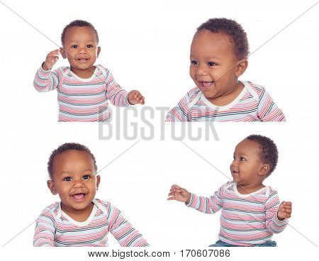 Sequence of different expressions of an African-American baby isolated on white