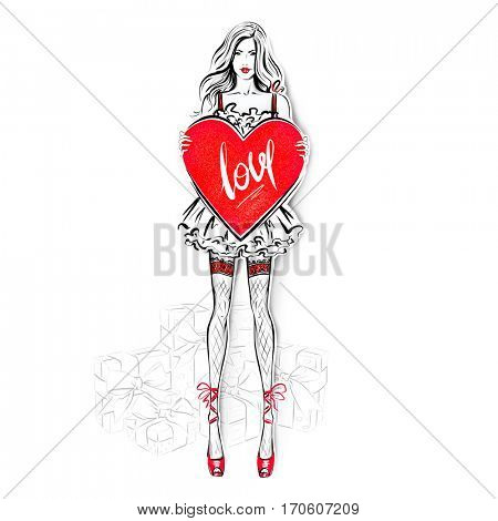 Digital illustration of sexy girl with big heart