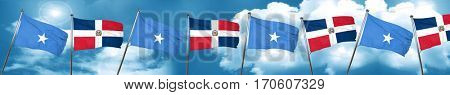 Somalia flag with Dominican Republic flag, 3D rendering