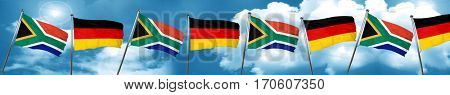 South africa flag with Germany flag, 3D rendering