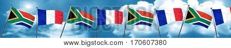 South africa flag with France flag, 3D rendering