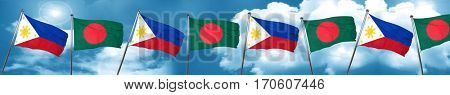 Philippines flag with Bangladesh flag, 3D rendering