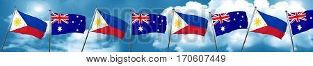 Philippines flag with Australia flag, 3D rendering