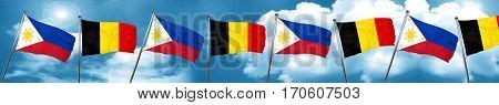 Philippines flag with Belgium flag, 3D rendering