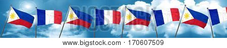 Philippines flag with France flag, 3D rendering