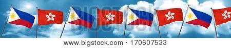 Philippines flag with Hong Kong flag, 3D rendering
