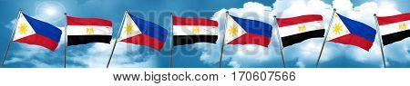 Philippines flag with egypt flag, 3D rendering