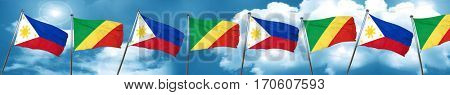 Philippines flag with congo flag, 3D rendering