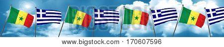 Senegal flag with Greece flag, 3D rendering