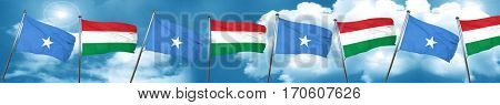 Somalia flag with Hungary flag, 3D rendering