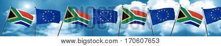 South africa flag with european union flag, 3D rendering