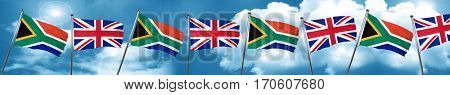 South africa flag with Great Britain flag, 3D rendering