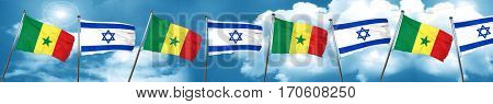 Senegal flag with Israel flag, 3D rendering